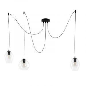 Design plafondlamp Lazaro met 3 glazen transparante kappen