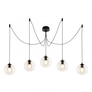 Desgin plafondlamp Pepe met 5 transparante bollen