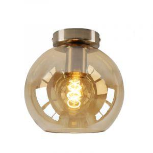 Design plafondlamp Hanae, amber glazen bol, chroom fitting