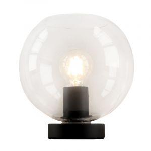 Zwarte, transparante ronde tafellamp Iza, met schakelaar