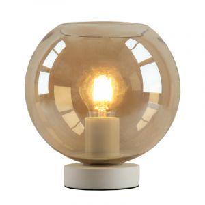 Witte glazen design tafellamp Mavis, Amber bol