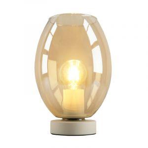 Witte glazen design tafellamp Mavis, Amber ovaal
