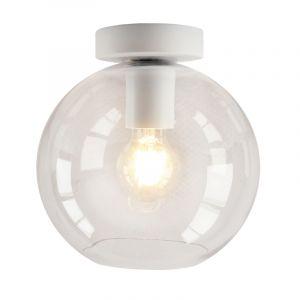 Witte glazen design plafondlamp Marvin, transparante bol
