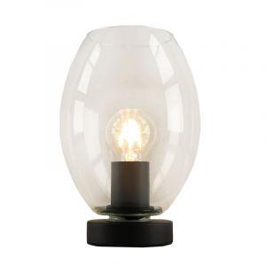 Zwarte ovale Design tafellamp Giulio, transparant glas, met touchdimmer