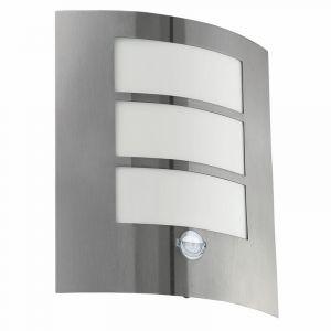 Zilveren moderne buitenlamp met schemersensor, Maike, rvs, schemersensor