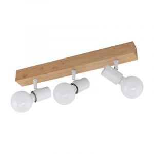 Bruine landelijke plafondspot, Anton, hout, 3 lampen