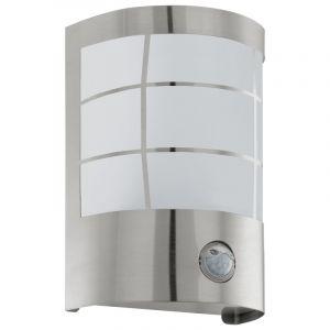 Zilveren buitenlamp met bewegingssensor Mahad, rvs, bewegingssensor