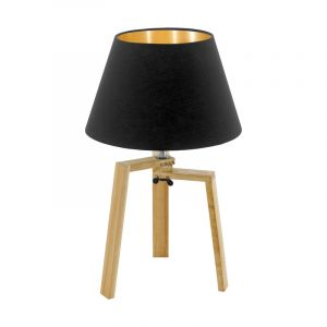 Bruine landelijke tafellamp, Maico, hout