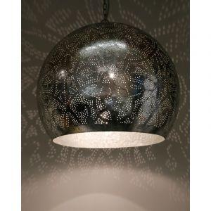 Zilveren filigrain XL hanglamp Alyssa, Metaal