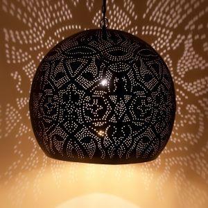 Zwart, gouden filigrain XL hanglamp Alyssa, Metaal