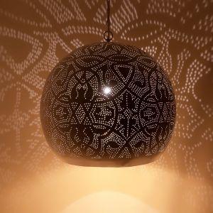 Wit, gouden filigrain XL hanglamp Alyssa, Metaal