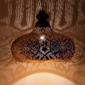 Gouden oosterse hanglamp Zina, Metaal
