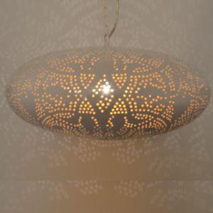 Mat wit bladgoud oosterse hanglamp Zina, Metaal
