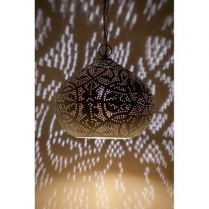 Mat wit, bladgoud arabische hanglamp Noah, Metaal