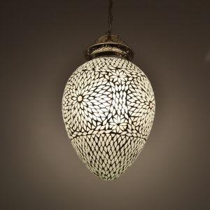 Witte oosterse hanglamp Isa, mozaiek
