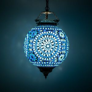 Blauwe mozaiek hanglamp Aziza, mozaiek