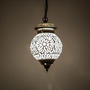 Transparante oosterse hanglamp Nisrin, mozaiek