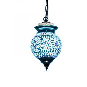 Blauwe oosterse hanglamp Nisrin, mozaiek