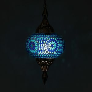Blauwe marrokaanse hanglamp Aicha, glasmozaiek