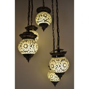 Transparante arabische hanglamp Amir, mozaiek