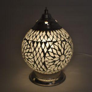 Transparante oosterse tafellamp Sabri, glasmozaiek+ metaal