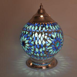 Blauwe oosterse tafellamp Sabri, glasmozaiek+ metaal