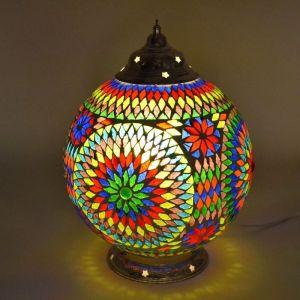 Gekleurde mozaiek tafellamp Dalil, glasmozaiek/kralen+ metaal