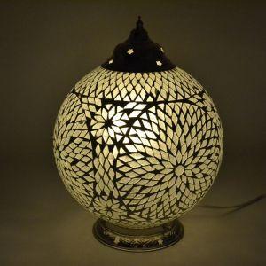 Transparante mozaiek tafellamp Dalil, glasmozaiek,metaal
