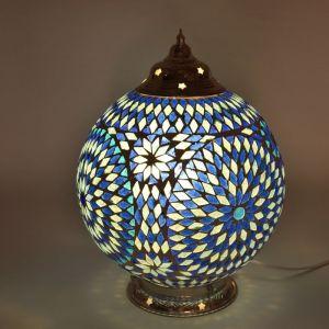 Blauwe mozaiek tafellamp Dalil, glasmozaiek,metaal