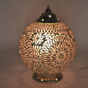 Paarse mozaiek tafellamp Dalil, glasmozaiek,metaal