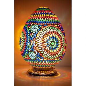 Gekleurde arabische tafellamp Lara, mozaiek,metaal