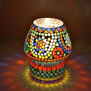 Gekleurde oosterse tafellamp Rachel, glasmozaiek