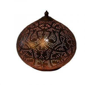Koperen marrokaanse tafellamp, filigrain Nour, metaal