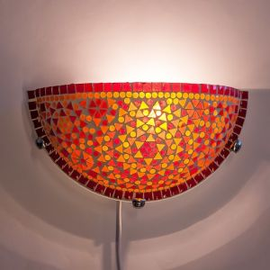 Rood, oranje mozaiek wandlamp Haja, mozaiek