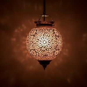 Paarse mozaiek hanglamp Aziza, mozaiek