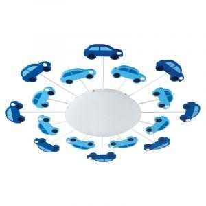 Olle plafondlamp voor kinderkamer stoere auto's blauw
