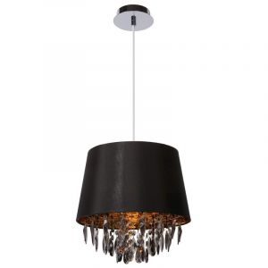 Zwarte, brocante hanglamp Dolti, Met zwarte kristalvormen