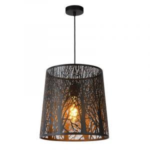 Zwarte hanglamp Garell, Rond