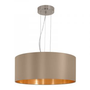 Grote luxe hanglamp Terme Taupe gouden stof