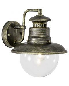 Zwarte Goudkleurige buiten wandlamp Viyan