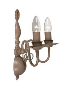 Taupe wandlamp Quincy II, klassiek 2L