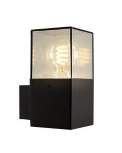 Zwarte wandlamp Sanel, Smoke glas, IP44, rechthoekig