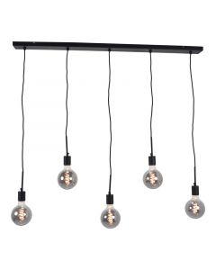 Industriële hanglamp Fawwaz, zwart, langwerpig