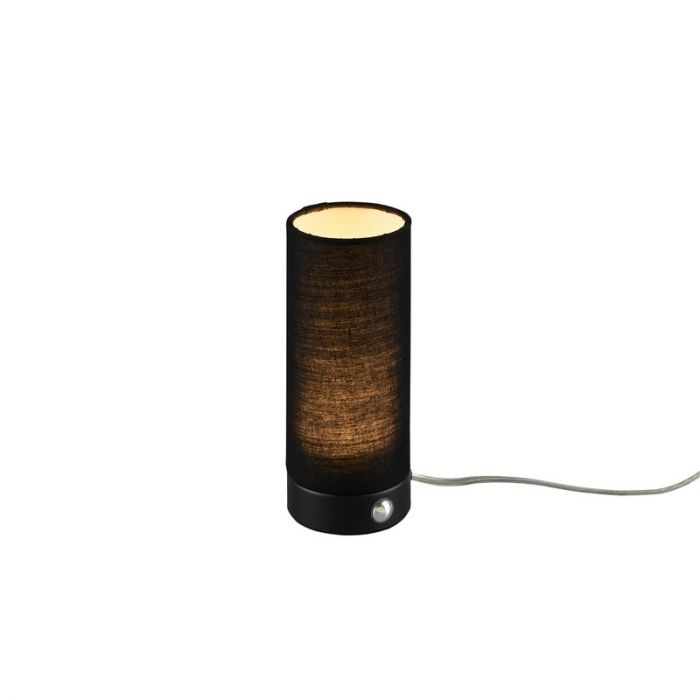 Zwarte tafellamp Lynga, Stof, Met Touch aan-uit