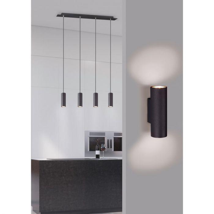 Mat Zwarte wandlamp Rude, Modern
