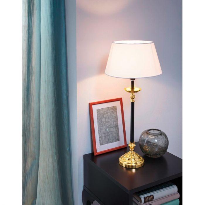 Klassieke tafellamp Shane Staal Messing/Zwart
