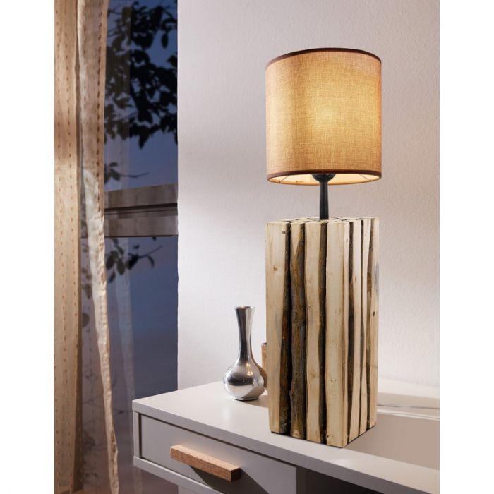 Landelijke tafellamp Kick Hout Bruin