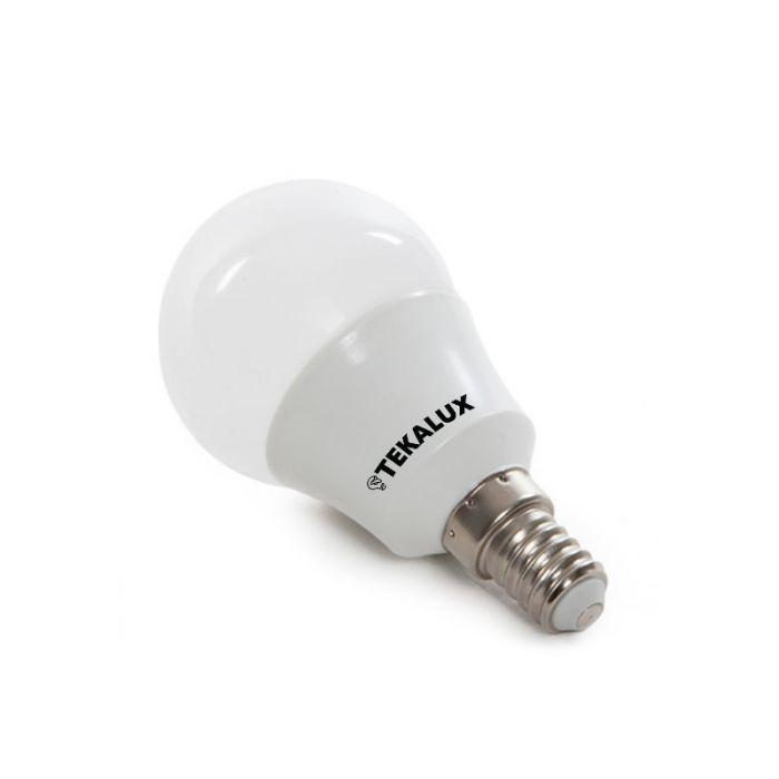 Tekalux Lasco E14 LED kogellamp, 5,5w warm wit