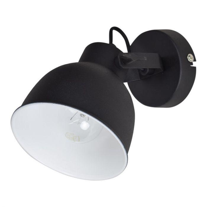 Zwarte, industriële wandlamp Fenlichano