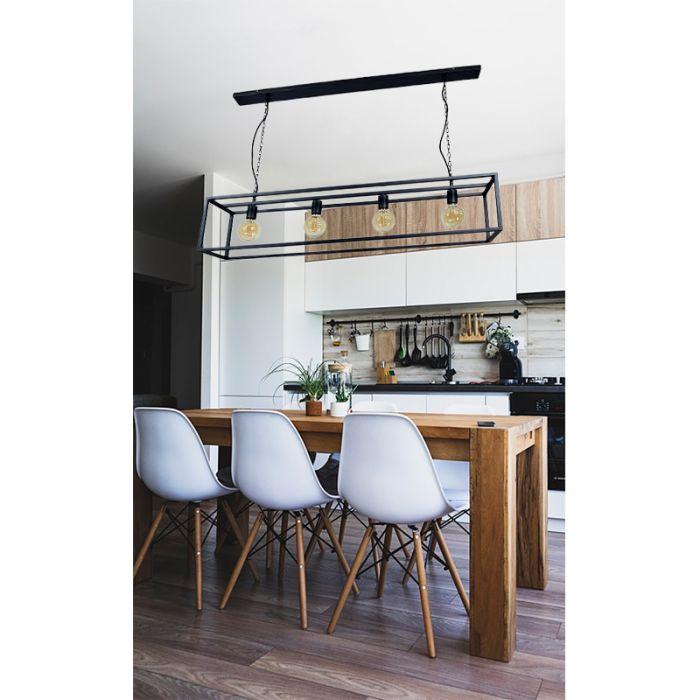 Grote eettafellamp Redox, Zwart, Industrieel